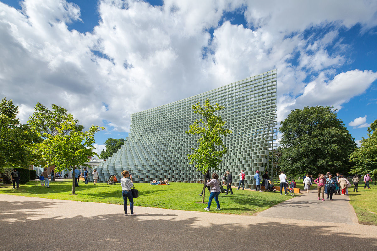 Sunny exterior view of the 2016 Serpentine Pavilion, London, United Kingdom.