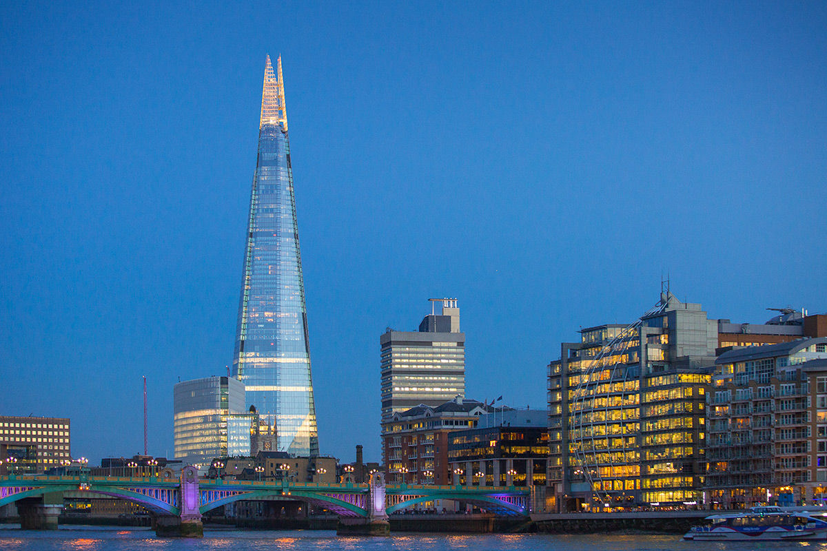 Exterior evening view of The Shard, central London, United Kingdom.