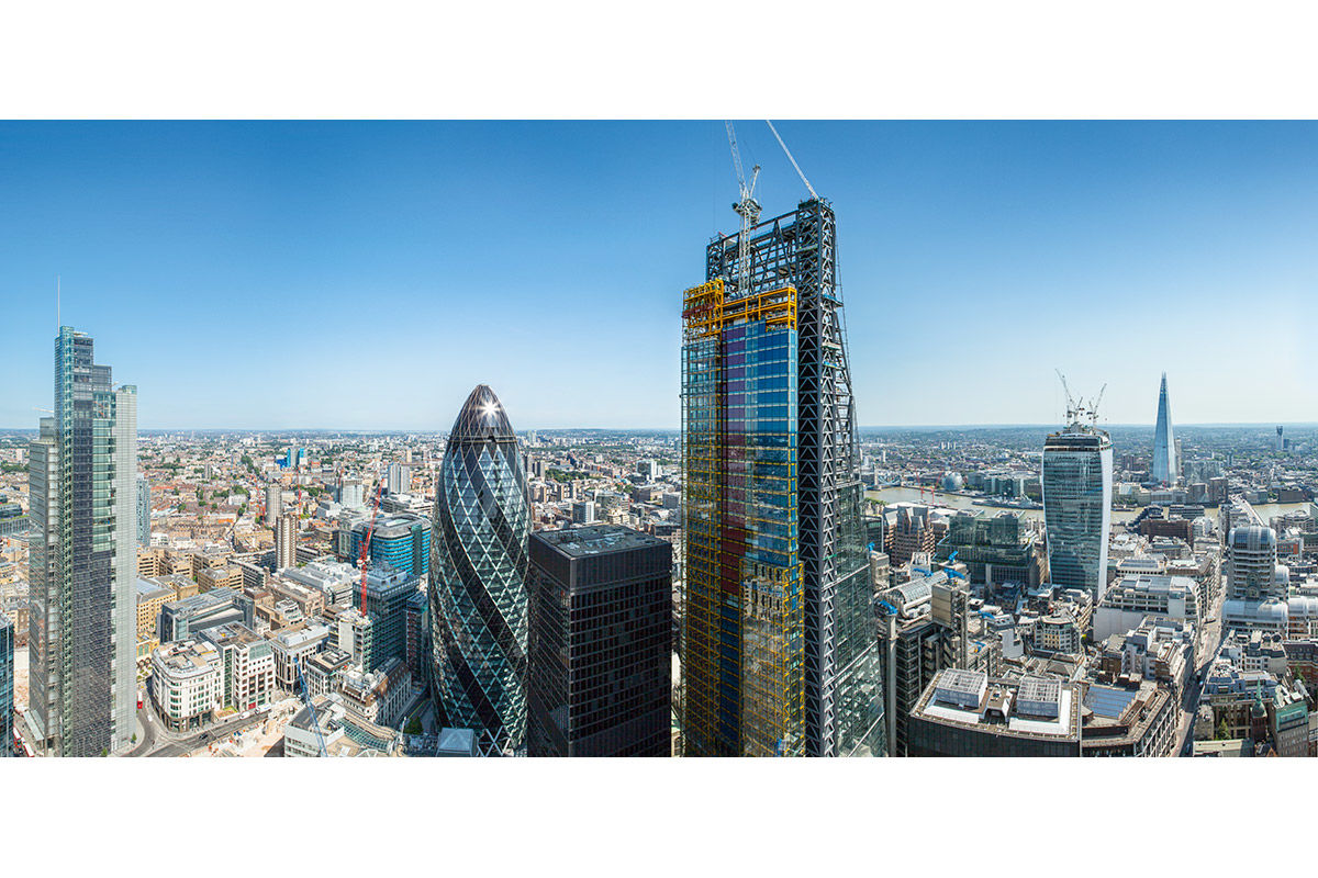 Sunny high-up view of 22 Leadenhall Street under construction, London, United Kingdom.