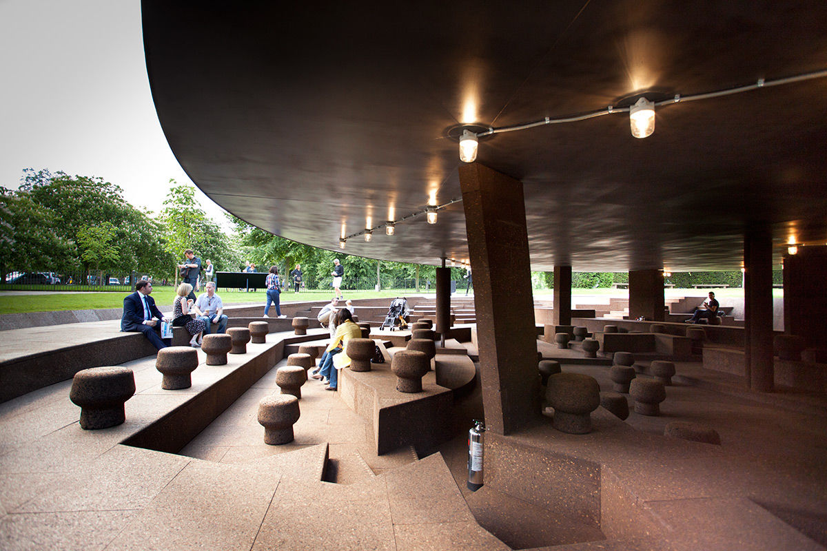 A daytime view of the 2012 Serpentine Pavilion by Ai Weiwei and Herzog de Meuron, London, United Kingdom.