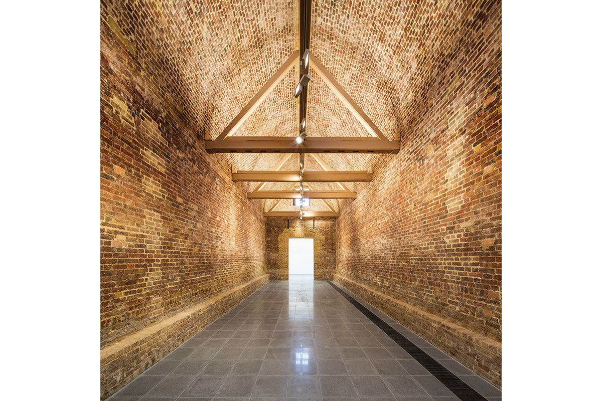 Pre opening image showing the brick interior of The Serpentine Sackler Gallery, London, United Kingdom.