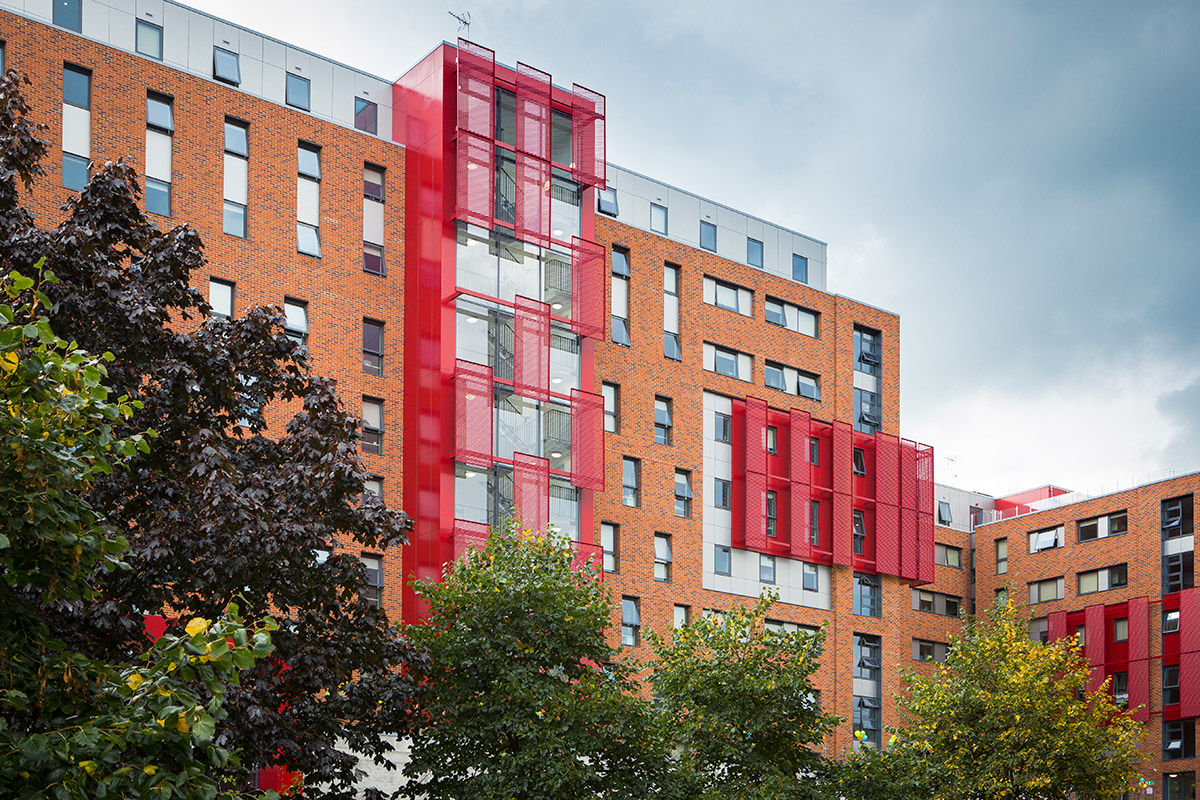Exterior view of new build student accommodation, central London, United Kingdom.