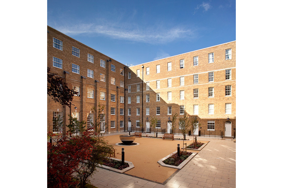 Exterior view of refurbished student accommodation, central London, United Kingdom.