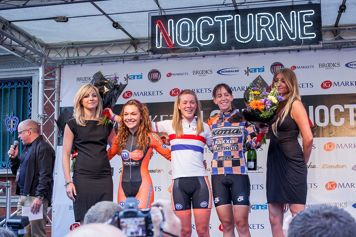 Podium finishers at the London Nocturne cycling event.
