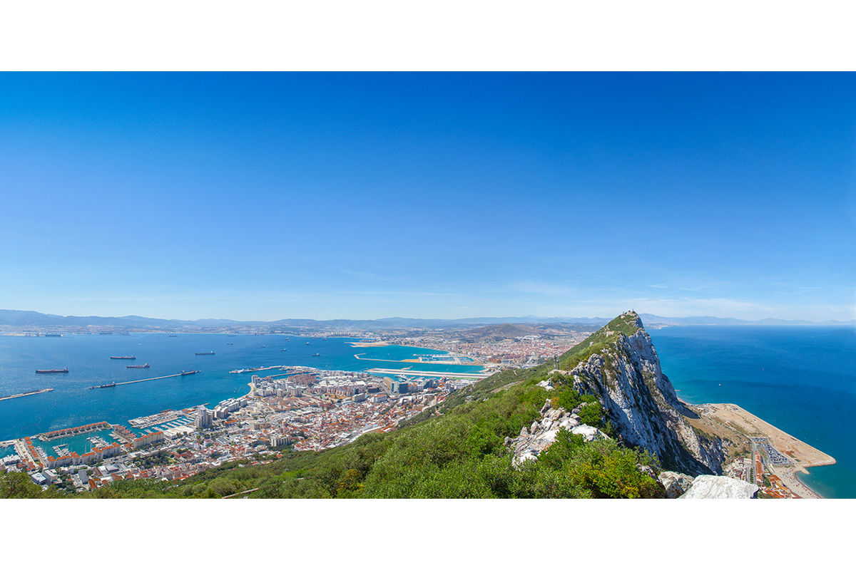 A high up view of Gibraltar, Spain.