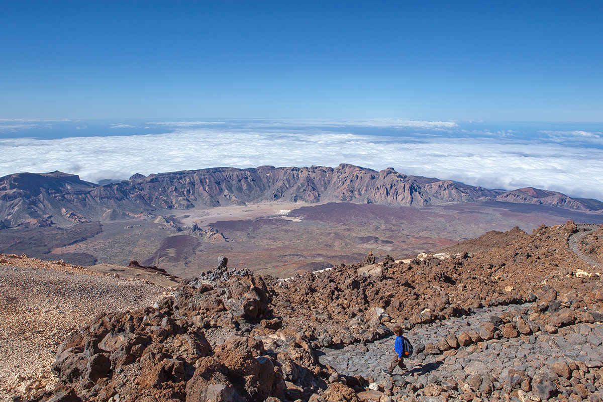 Looking down from Mount Teide, Tenerife, Spain.