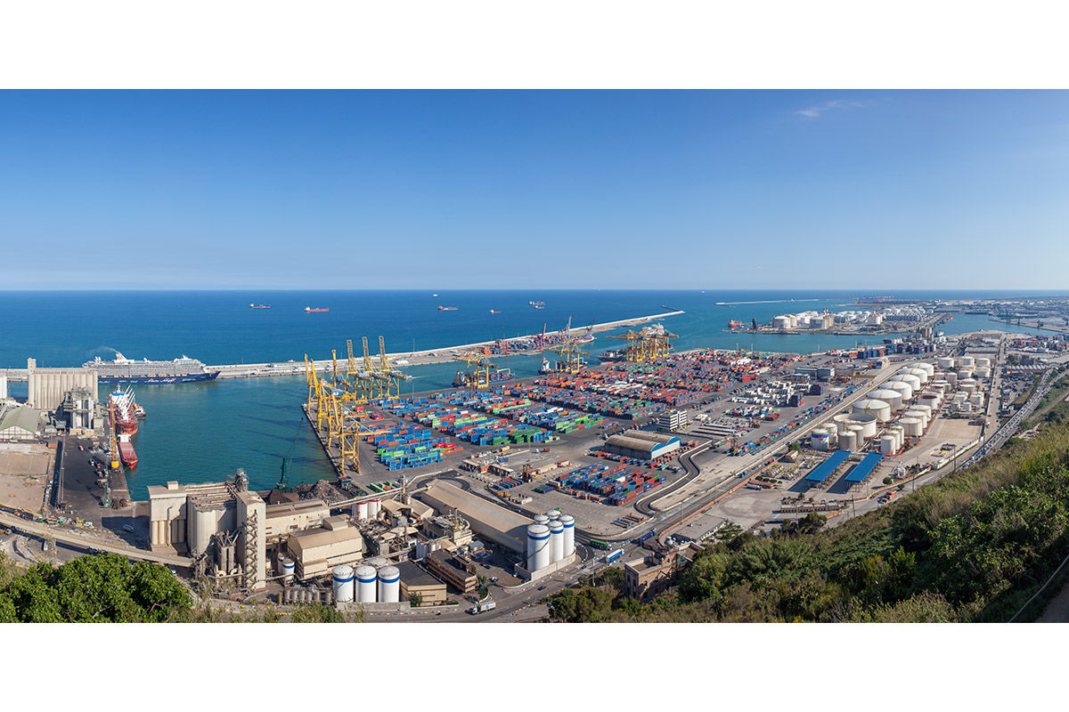 A high up view of Barcelona Port, Spain.