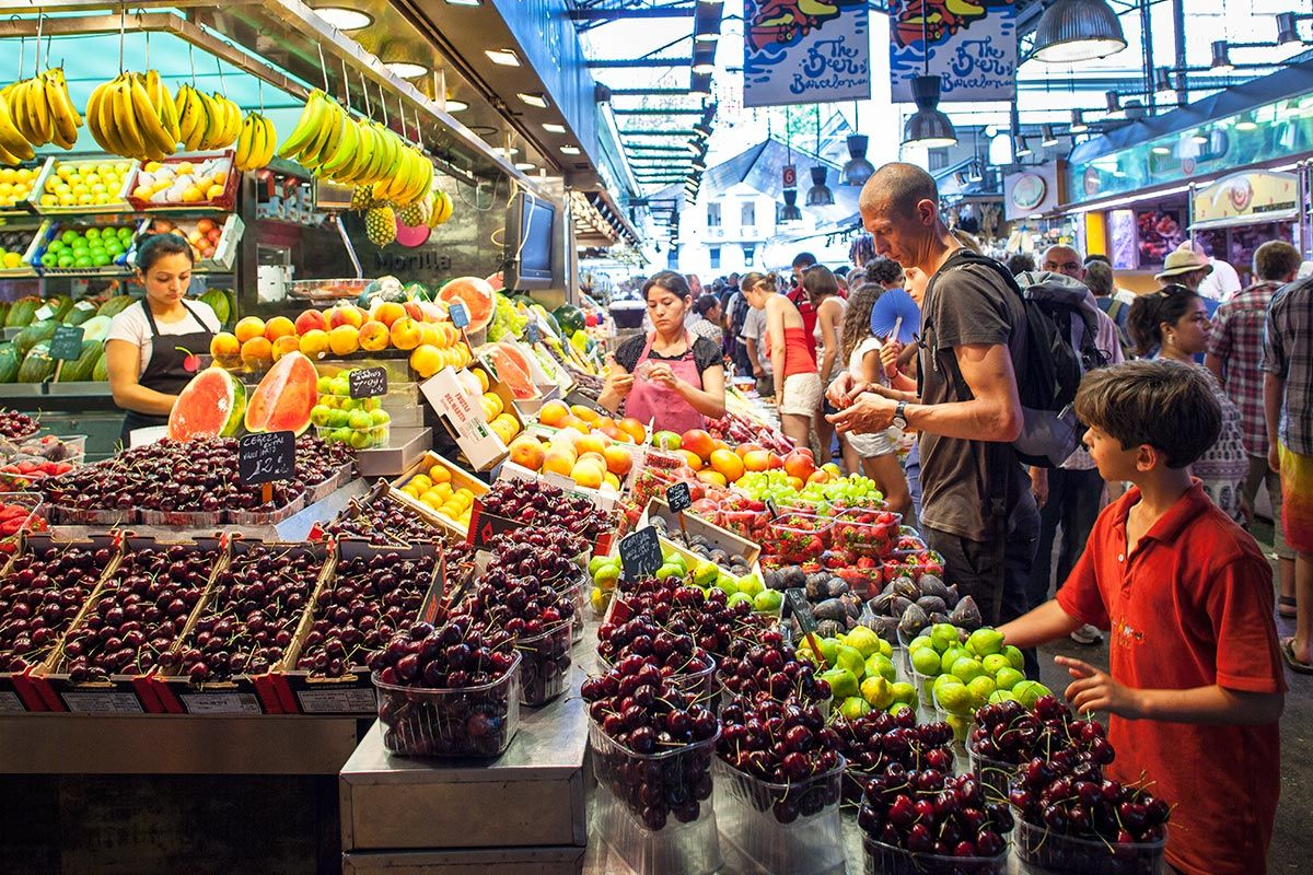 A busy food market in Barcelona, Spain.