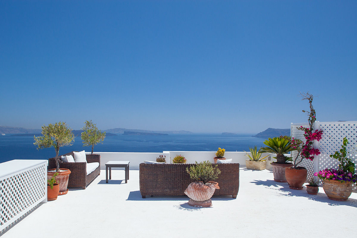 View form a terrace in Santorini, Greece.