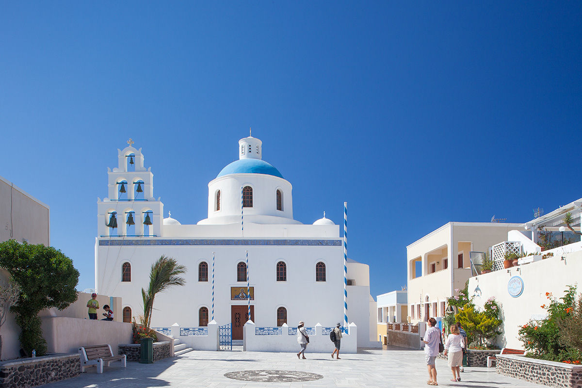Ekklisia Panagia Platsani Church in Santorini, Greece.