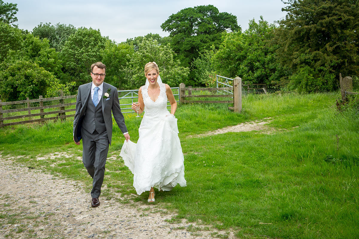 happy couple walking in the country