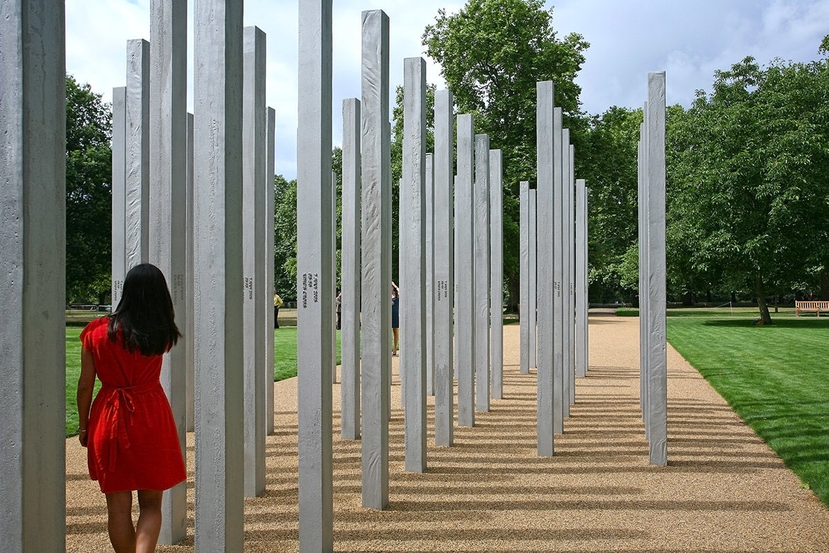 A sunny daytime view of the 7 / 7 memorial in Hyde Park, London, United Kingdom.