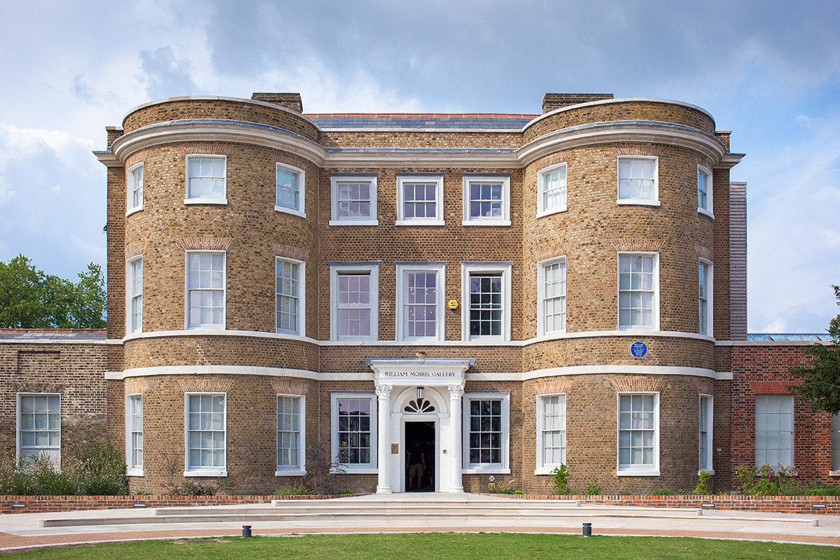 Sunny view of William Morris house, Walthamstow, United Kingdom.