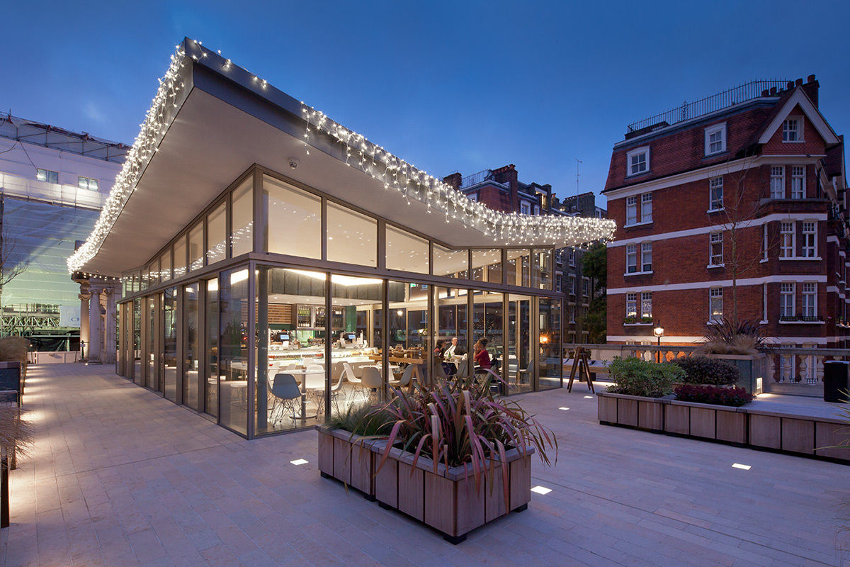 Evening view of Brownhart Gardens cafe, London, United Kingdom.