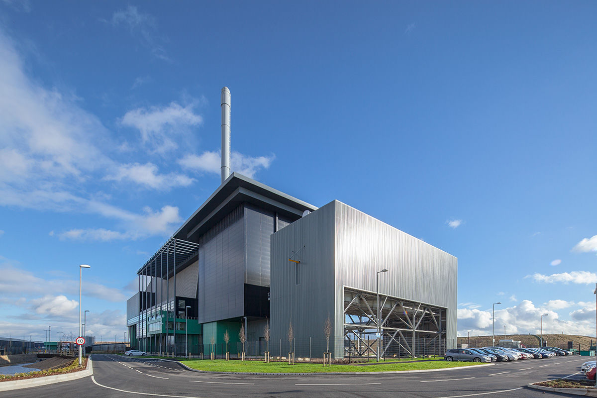 Sunny view of energy plant, Lincoln, United Kingdom.